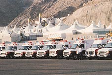 Red Crescent ambulances in Mina Click to view high resolution version