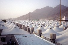 The modern fire-resistant and air-conditioned tents in Mina Click to view high resolution version